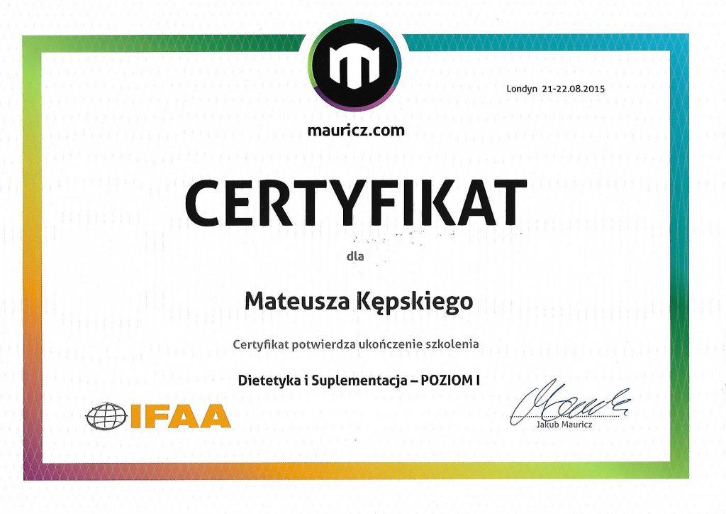 Dietetyka i suplementacja - Certyfikat
