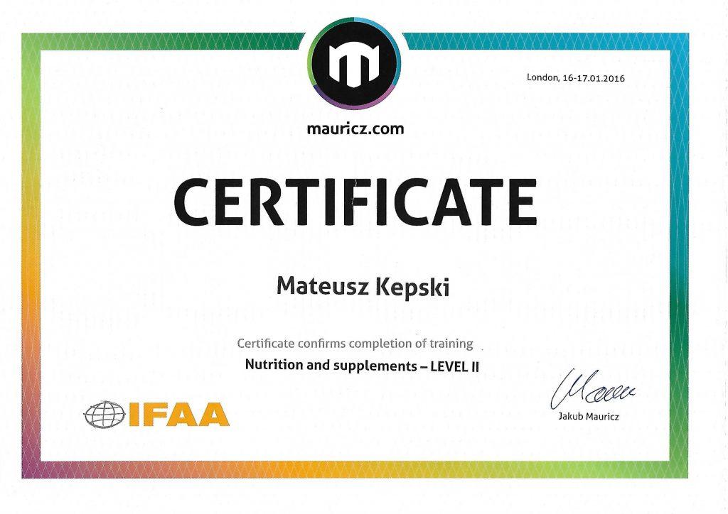 Certyfikat z zakresu suplementacji